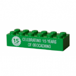 15 (Fifteen) Years of Geocaching Official Trackable Lego Brick - Green